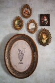 Gallery of antique miniature pictures and decorative wall plate