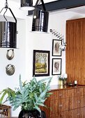 Vase of leaves under black-painted studio spotlights in front of wooden chest of drawers below framed pictures on wall