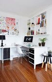 White, L-shaped desk with black drawer fronts, classic chair and dip-dyed stool