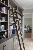 Grey-painted shelving units with library ladder in living room