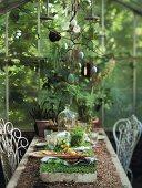 Gedeckter Tisch in Gartenlaube