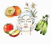 Frau erhält Gesichtsmassage daneben Obst & Gemüse für die Naturkosmetik (Illustration)