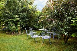 Blue-painted, ornate metal garden furniture on lawn below low trees