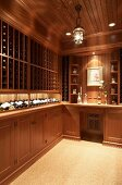 Elegant, country-house-style, fitted cabinets for storing wine