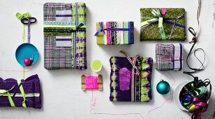 Gift-wrap ideas using fabrics and ribbons