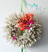 Christmas wall wreath hand-made from old book pages