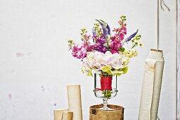 Summer bouquet of hydrangeas, stocks & speedwell in glass vase