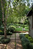 View along paved path into garden