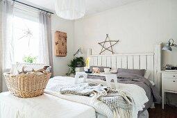 Breakfast tray in cosy, wintry bedroom