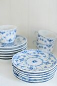 White and blue painted breakfast crockery (Royal Copenhagen Musselmalet china)