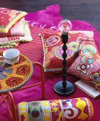 Pink home accessories with flower-power floral motifs