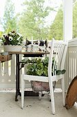 Planted chair and antique sewing machine on veranda