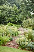 Curved stone path in green, landscaped garden