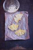 Gingko leaves sprinkled with fine, silver glitter