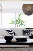 Detail of a black and white living room