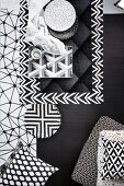 Masculine mixture of various geometric black and white patterns
