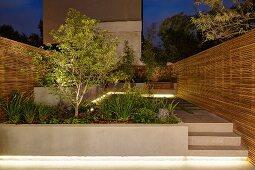 Illuminated, modern, terrace-house garden with wooden screens below night sky