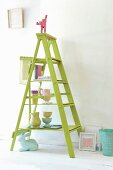 DIY shelves made from stepladders and boards
