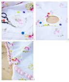 Sewing instructions for making a tablecloth with pink pompom trim
