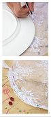 Sewing instructions for making fly cover out of white lace