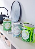 DIY – tins decorated with Japanese paper for storing tea