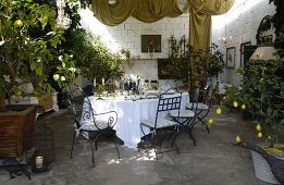 Table festively set with white tablecloth and lemon tree in planter