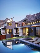 Luxurious architect-designed house with pool in hillside situation