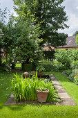 Rectangular pond in idyllic garden