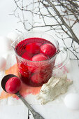 Dying Easter eggs red