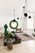 Surrealist designer pieces in living room