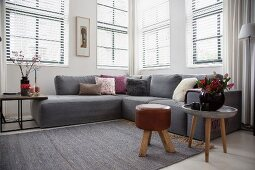 Grey sofa and side tables in Scandinavian livng room