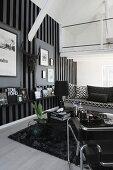 Elegant, masculine, monochrome living area