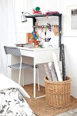 Desk with DIY top unit for storing and hanging utensils
