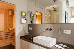 Washstand with countertop basin below large mirror, view into home sauna to one side