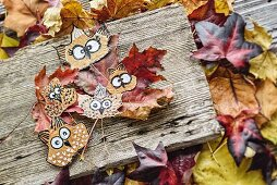 Owls painted on pressed autumn leaves