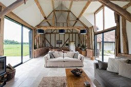 Modern living room in converted attic