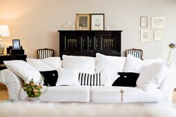 Classic black and white living room