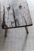 Detail of old wooden bench