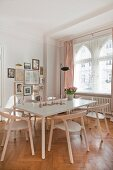 Modern furniture in dining room of period apartment
