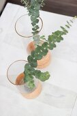 Glass vases with cork decoration