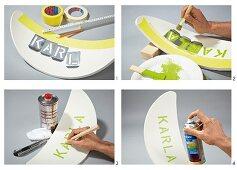 Stuhlrückenlehne mit Schriftzug in Schablonentechnik aufpeppen
