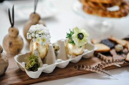 Gilded eggs used as vases for tiny flowers in egg box surrounded by feathers and wooden rabbits