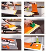 Instructions for revamping kitchen cabinet doors using adhesive film