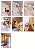 Küchenfronten aus Holz und Glas anbringen und mit Innenbeleuchtung ausstatten