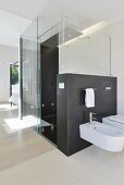 Floor-level shower and glass screen in ensuite bathroom
