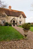 English country house with garden