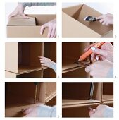 Make a shelf out of cardboard boxes