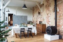 Loft apartment in converted barn decorated for Christmas