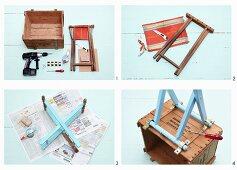 Kleines Regal aus alter Holzkiste und Klapphocker herstellen