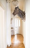 Zebra's head mounted on wall in narrow hallway with herringbone parquet floor
